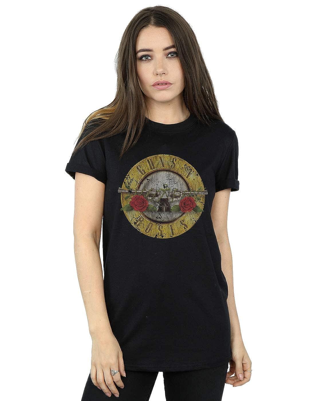 Guns N Roses Mujer Vintage Bullet Logo Camiseta del Novio Fit