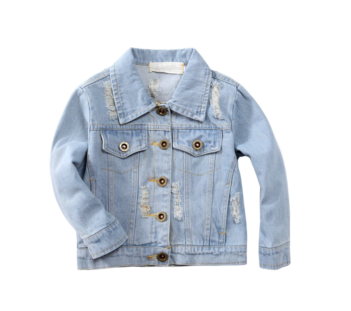TAIYCYXGAN Girl's Denim Jacket Embroidery Flower Kids Toddler Casual Ripped Denim Coat for Girl Blue 140 by TAIYCYXGAN