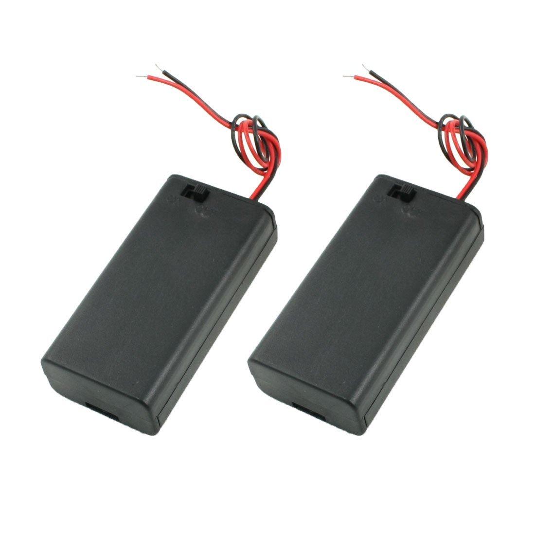 RETYLY 2PCS Soporte de Caja de bateria 2x1.5V AA baterias con Cubierta Interruptor de Encendido//Apagado