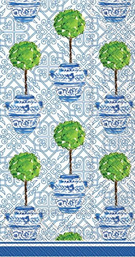 Ideal Home Range 3-Ply Paper Rosanne Beck Collections Blue Topiary, 16 Count Guest Towel Napkins (Paper Topiary)