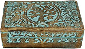 Antique Wooden Jewel box Urn with Tree of Life Design Handcarved Jewellery Box for Women-Men| Home Decor Accents | Decorative Boxes 6