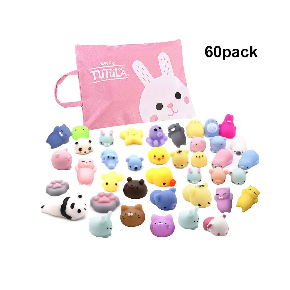 Siwo 60pcs Mochi Squishy Toys,Assorted Animal Squishies and Storage Bag,Stress Relief Toy and Best Gift for Kids