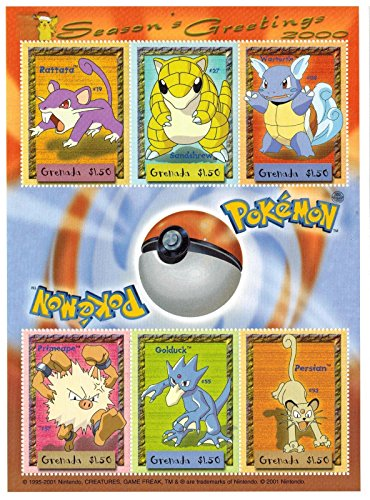 Pokemon collector's stamps - Season's Greetings - 2000 - Stamp Sheet of 6 Postage Stamps - Grenada (Sheet Grenada)