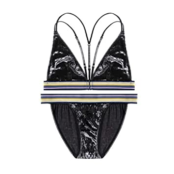 Uzanesx Conjunto de Ropa Interior de Terciopelo Lijado Sujetador Femenino Sujetador de Copa Ultra Delgada Tipo