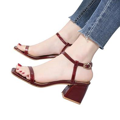 QinMM Damen Fashion Einfarbig Karree Squar Heel Rom Hochhackige Schuhe Bequeme Mode Sandalen Stilvolle Strand...
