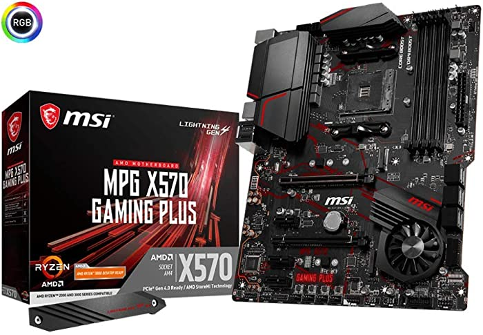 MSI MPG X570 GAMING PLUS Motherboard (AMD AM4, PCIe 4.0, DDR4, SATA 6Gb/s, M.2, USB 3.2 Gen 2, HDMI, ATX)