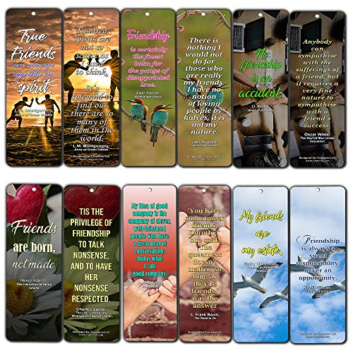 Creanoso Literary Quotes Bookmarks - Friendship Sayings (12-Pack) - Jane Austen Emily Dickison L.M. Montgomery Quotes About Friends - Stocking - Friendship Bookmark