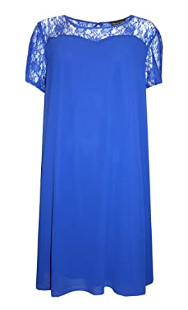 d4c2a16bc2 Damen plus Größe Royal Blue Lace Abend Skater Swing Kleid Gr. 16–28 ...