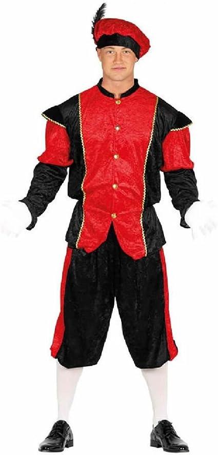 Disfraz de Paje Rojo y Negro para hombre: Amazon.es: Juguetes y juegos