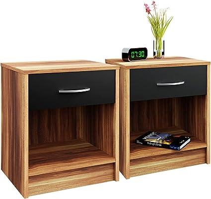 Deuba Set de 2 mesitas de Noche con cajón Merano 50x40x35 cm Mesa Auxiliar para Libros Dormitorio