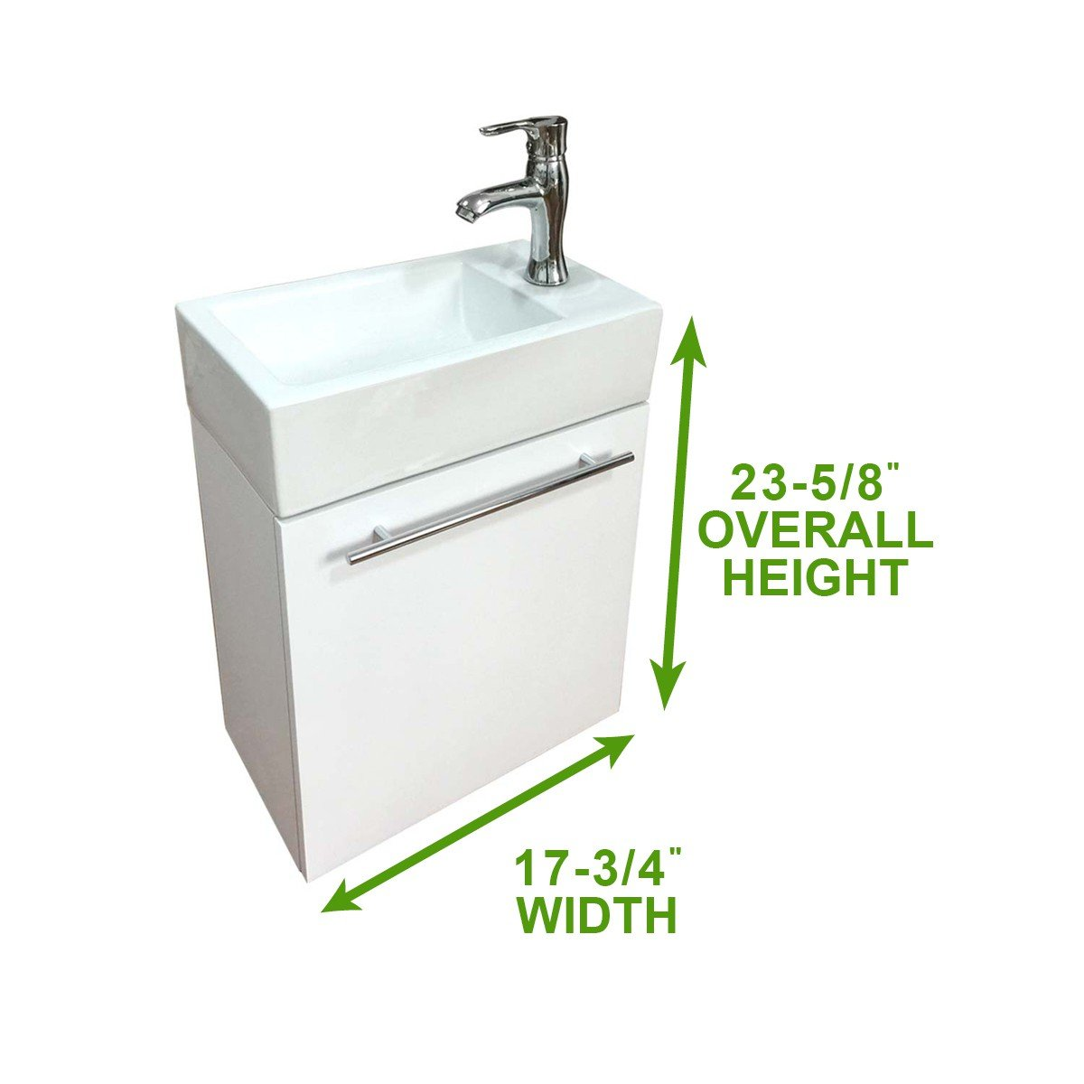 Small Cabinet Vanity Sink Wall Mounted White Combo Set