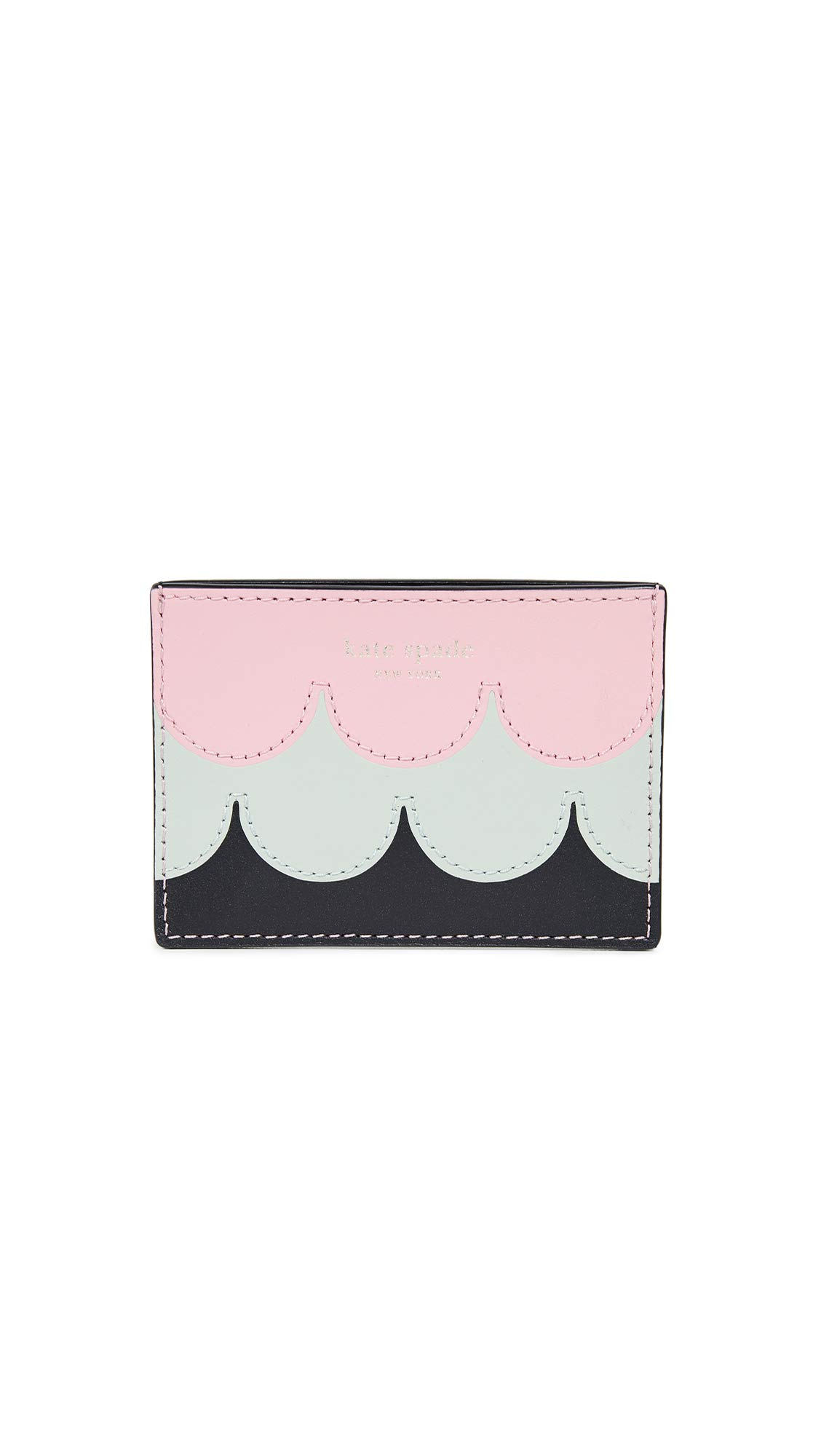Kate Spade New York Women's Intarsia Scallop Card Holder, Rococo Pink, One Size