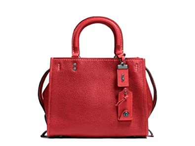 e5de399a34c COACH 1941 Rogue 25 in Glovetanned Pebble Leather Satchel BP/1941 Red
