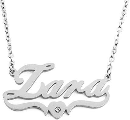 Gift Idea For Her ZARA Crystals Stylish White Gold Plated Name Necklace