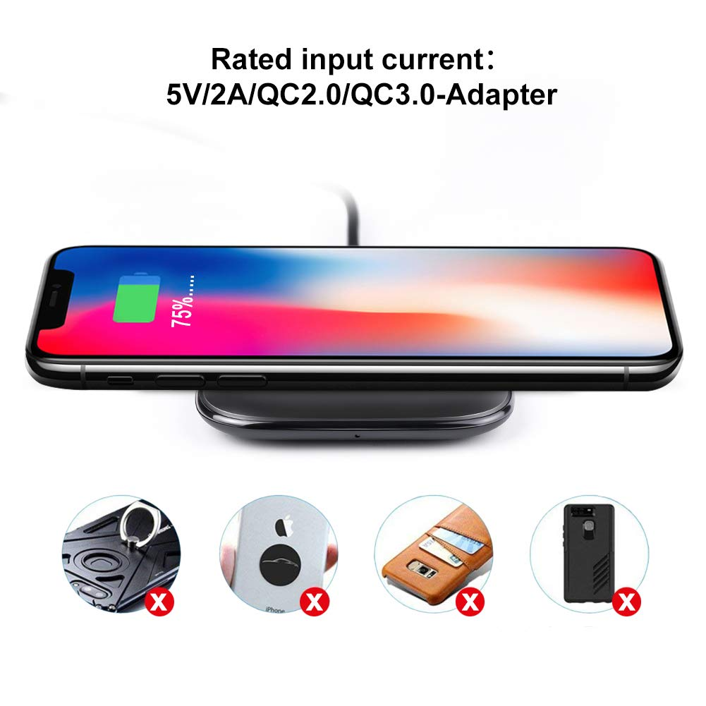 ARINO Wireless Charger Fast Wireless Charging Pad Portable QI Fast Wireless Charging Station Compatible for iPhone Xs/Xs Max/Xr/X/8/8 Plus Samsung Galaxy S9/S9 Plus and Other Qi Enable Devices