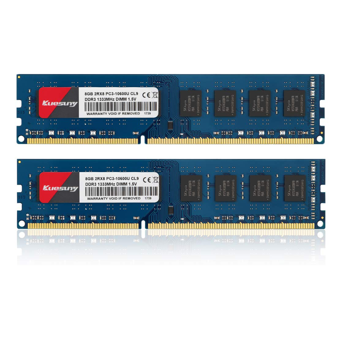 Memoria Ram 16gb Kuesuny Kit (8gbx2) Ddr3-1333 Udimm Pc3-10600 / Pc3-10600u 8gb Cl9 240 Pin 2rx8 Dual Rank Non Ecc Unbuf