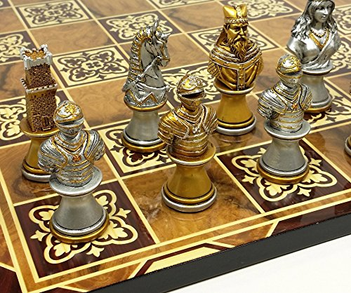 HPL Medieval Times Crusades Gold & Silver Busts Knight Chess Set W/ 17