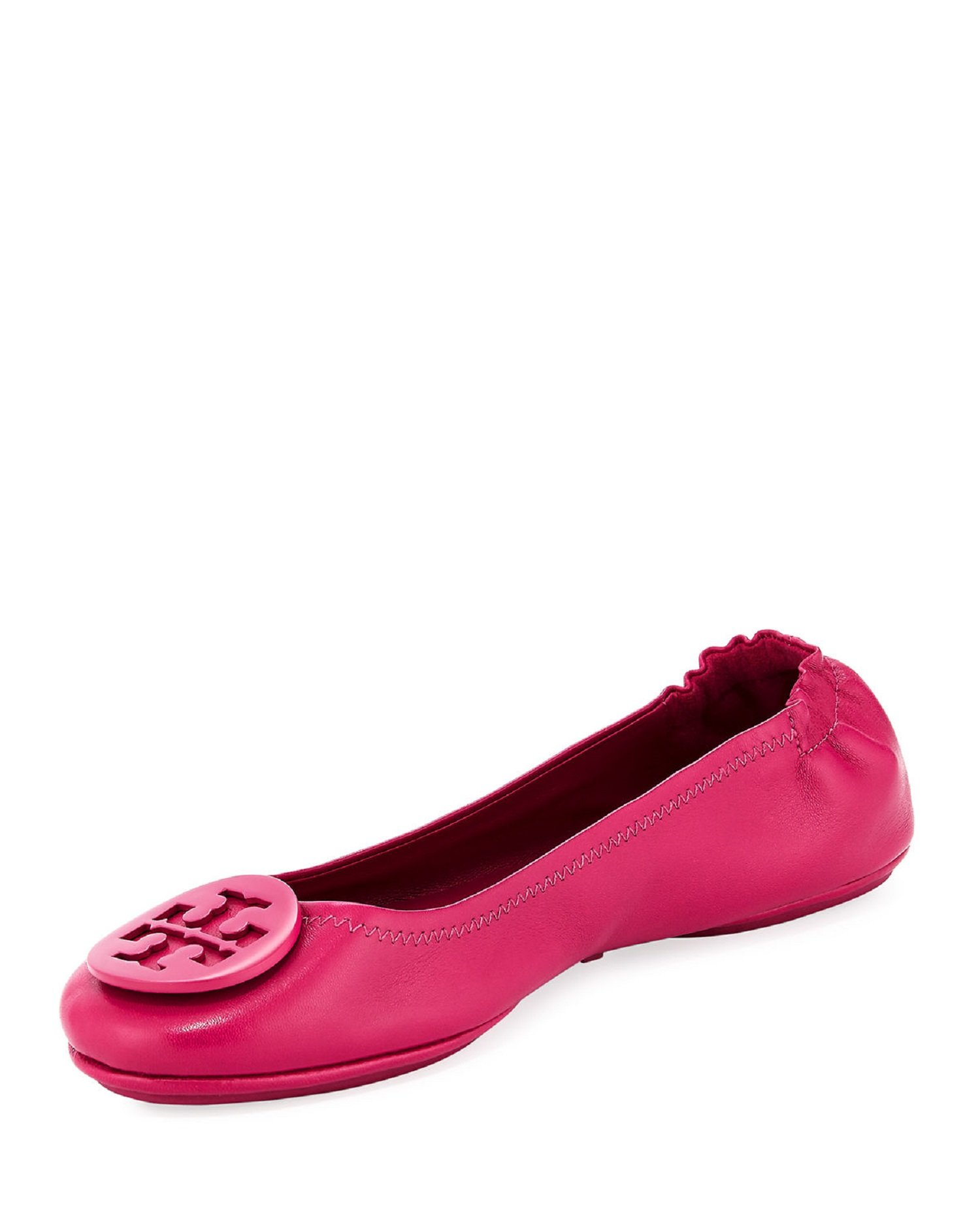 Tory Burch Minnie Ballet Travel Flats Signature Logo Fuschia Size 7