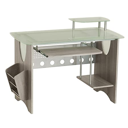 Techni Mobili Stylish Frosted Glass Top Computer Desk with Storage. Color Grey