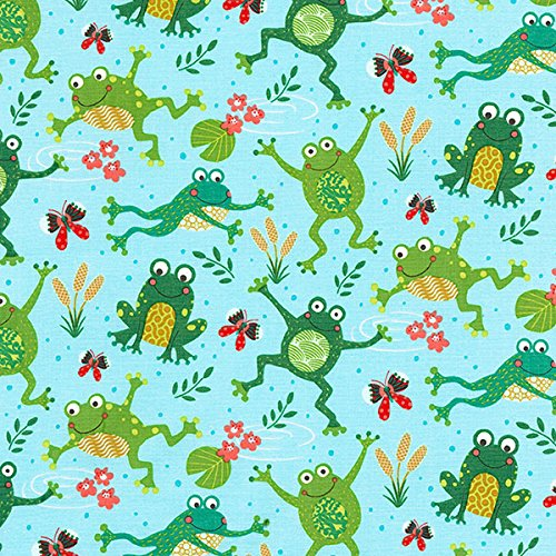 Timeless Treasures Playful Frogs Aqua Happy (Playful Frogs)