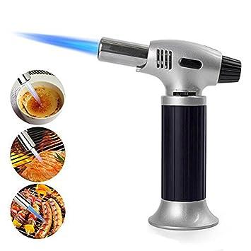 Antorcha de Cocina, cocina recargable antorcha butano culinario con cerradura de seguridad y llama ajustable