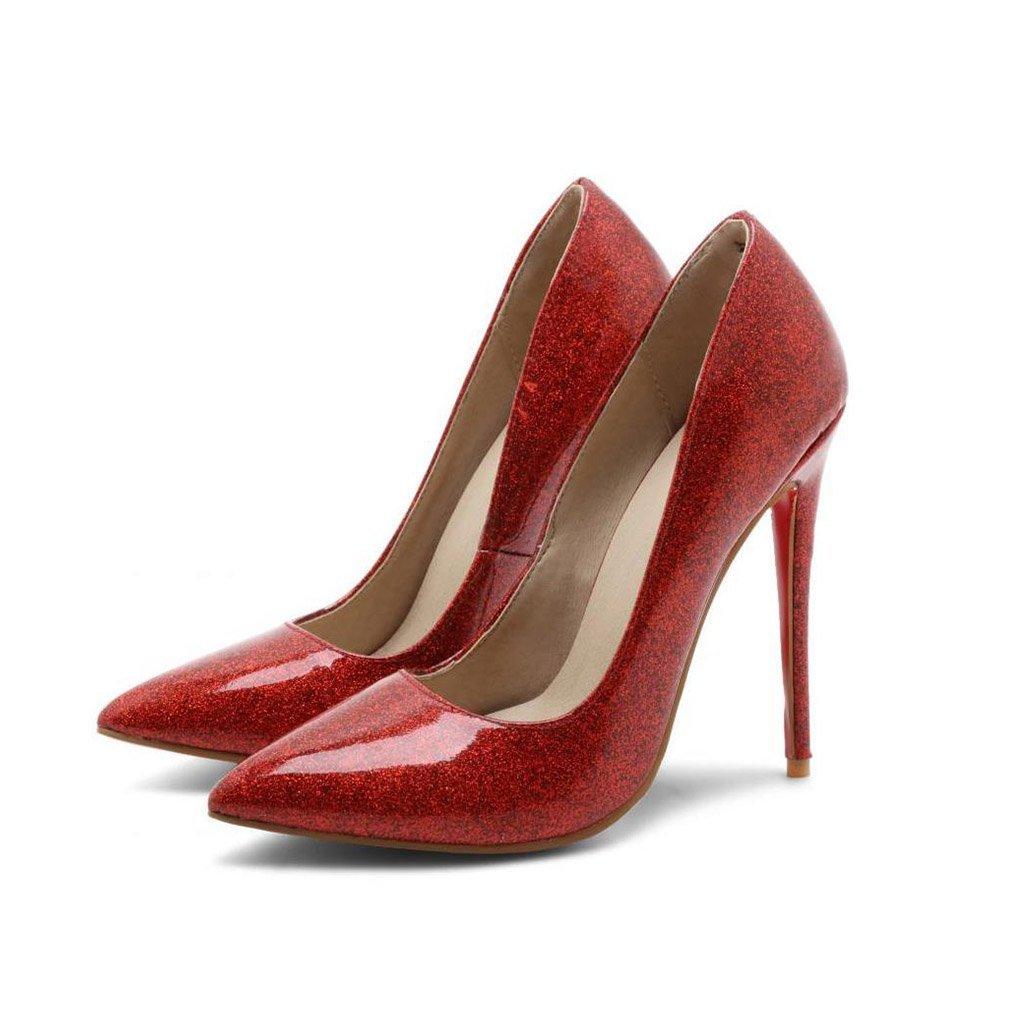 JIANXIN Die Frauentürme Sind Super High Heels Mit Flachen Einzelnen Schuhen Und Sexy Stilettos Im Frühling Und Sommer. (Farbe   rot größe   EU 36 US 5.5 UK 3.5 JP 23cm)