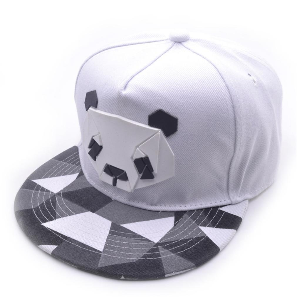 Baseball Hat, Boys Girls Cute 3D Panda Cotton Trucker Cap Snapback Golf Ball Hip-Hop Flat Hat Summer Casual Sports Caps (White)