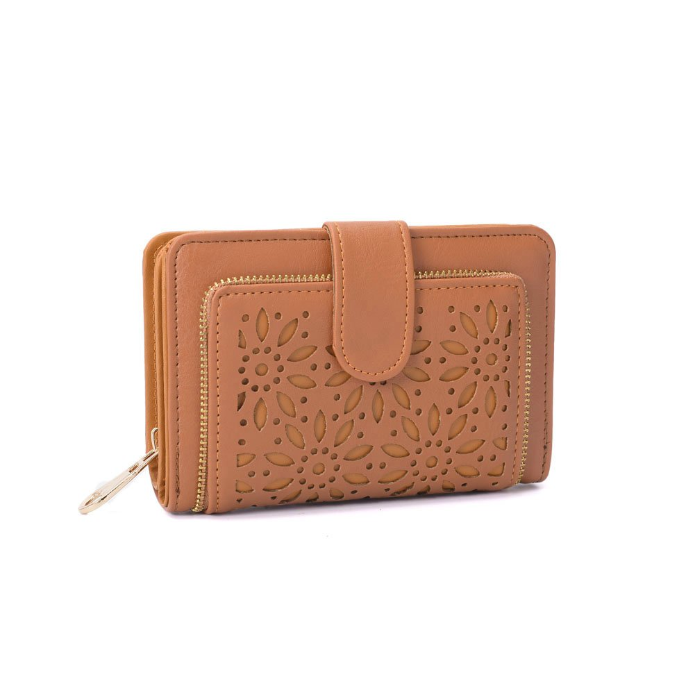 Faux Leather Vintage Hollow Bifold Wallet GLITZALL Women Short Credit Card Holder (Brown)