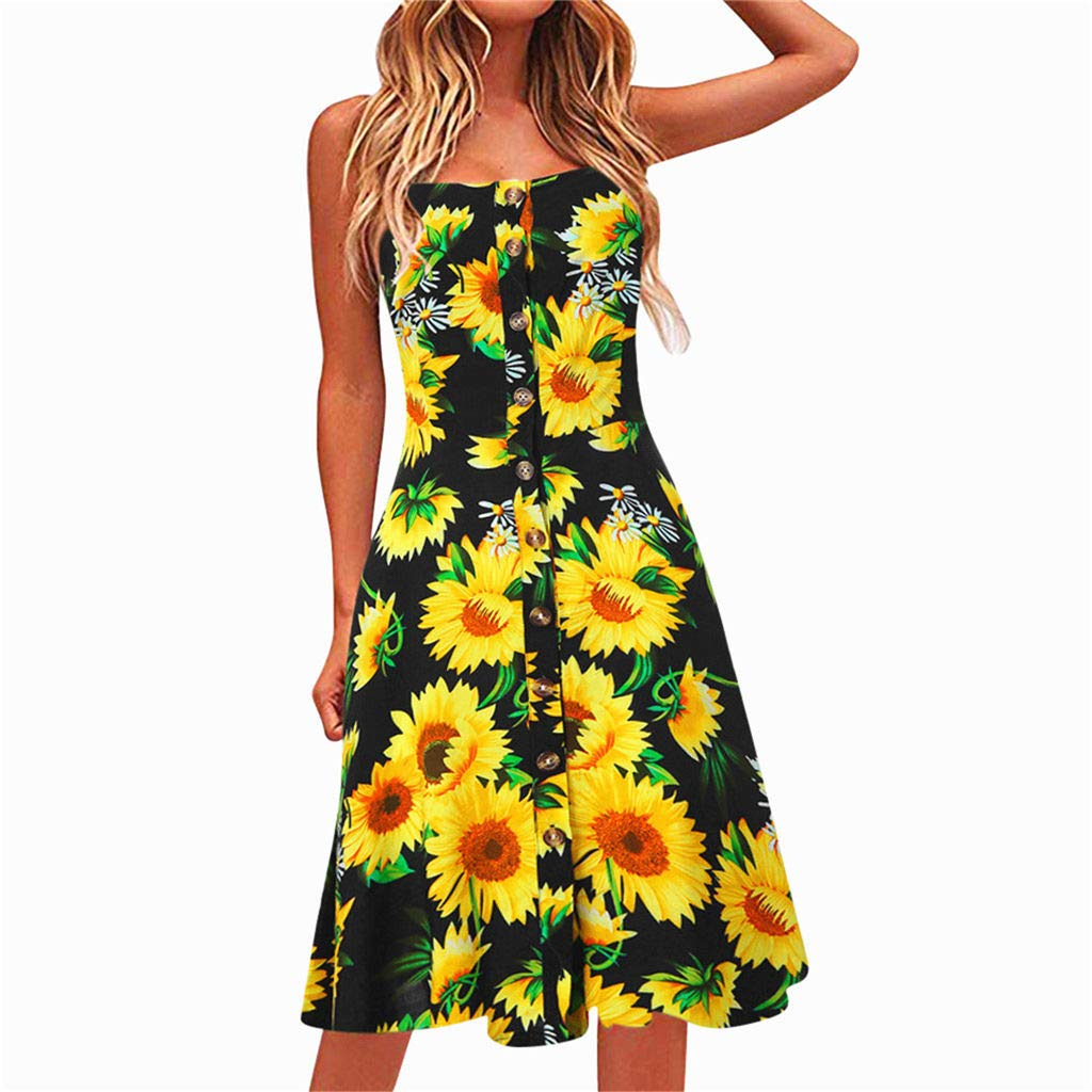 miqiqism 2019 Women Boho Midi Dresses Summer Bohemian Floral Print Spaghetti Strap Sundress Button up Swing Dress with Pockets (Black, S) by miqiqism (Image #1)