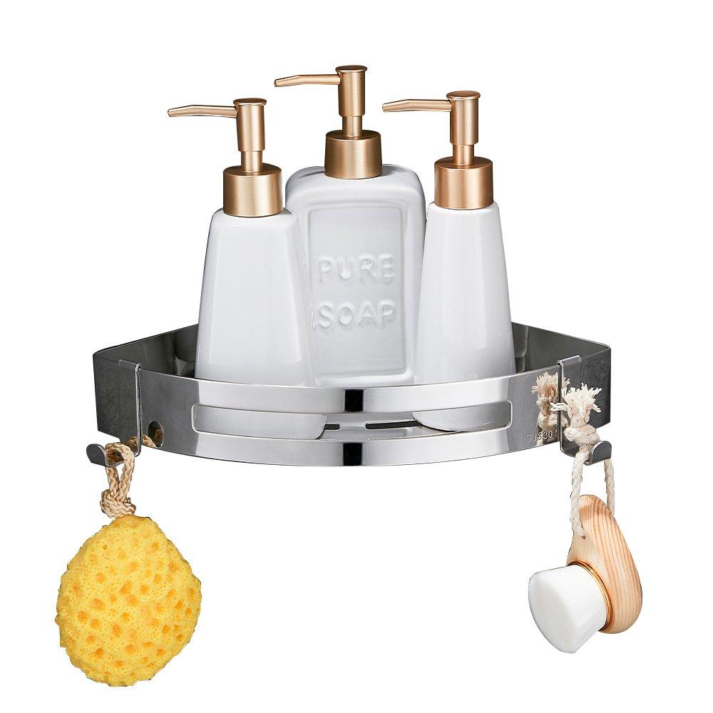 Wopeite Bathroom Shower Corner Shelf Stainless Steel Triangle Wall Shower Self Adhesive No Damage