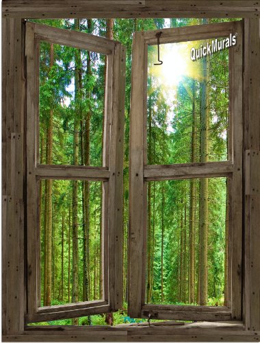 Country Cabin Window 1-Piece Peel & Stick CANVAS Wall Mural 36 inch Wide x 48 inch High