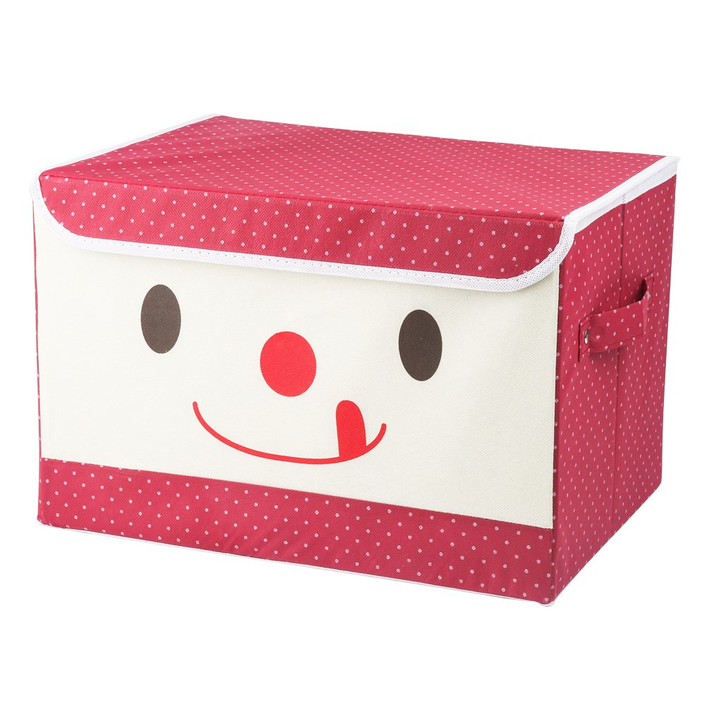 Dazhengyang Fabric Storage Boxes with Lids and Handles 15''x10''x10'' Cartoon Foldable Storage Cubes (Red)