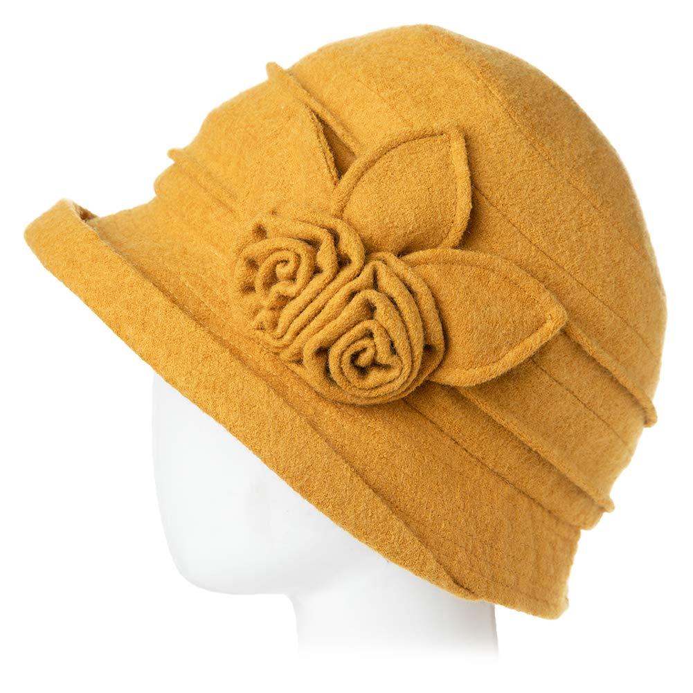 modische Winterm/ütze f/ür Frauen 16076B/_Yellow verstaubar und verstellbar Gr M Fancy Damen 1920er-Jahre-Vintage-Kleid aus Wolle mit Derby-Kleid