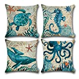 Carrie Home Ocean Park Cotton Linen Theme Decorative Throw Pillow Cover Case 18'' x 18'' Sea Decor Pillowcase with Ocean-Beach-Sea-Conch-Whale-Seahorse Pattern, Beige