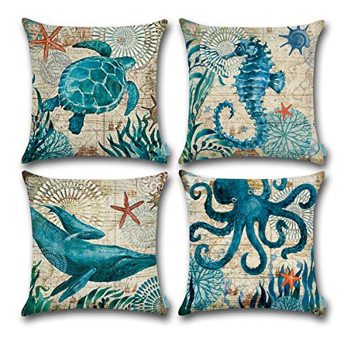 CARRIE HOME Nautical Pillows Decor Octopus/Seahorse/Whale/Turtle Decorative Throw Pillow Covers 18 x 18 Inch for Beach House, Set of 4 (Accent Nautical)