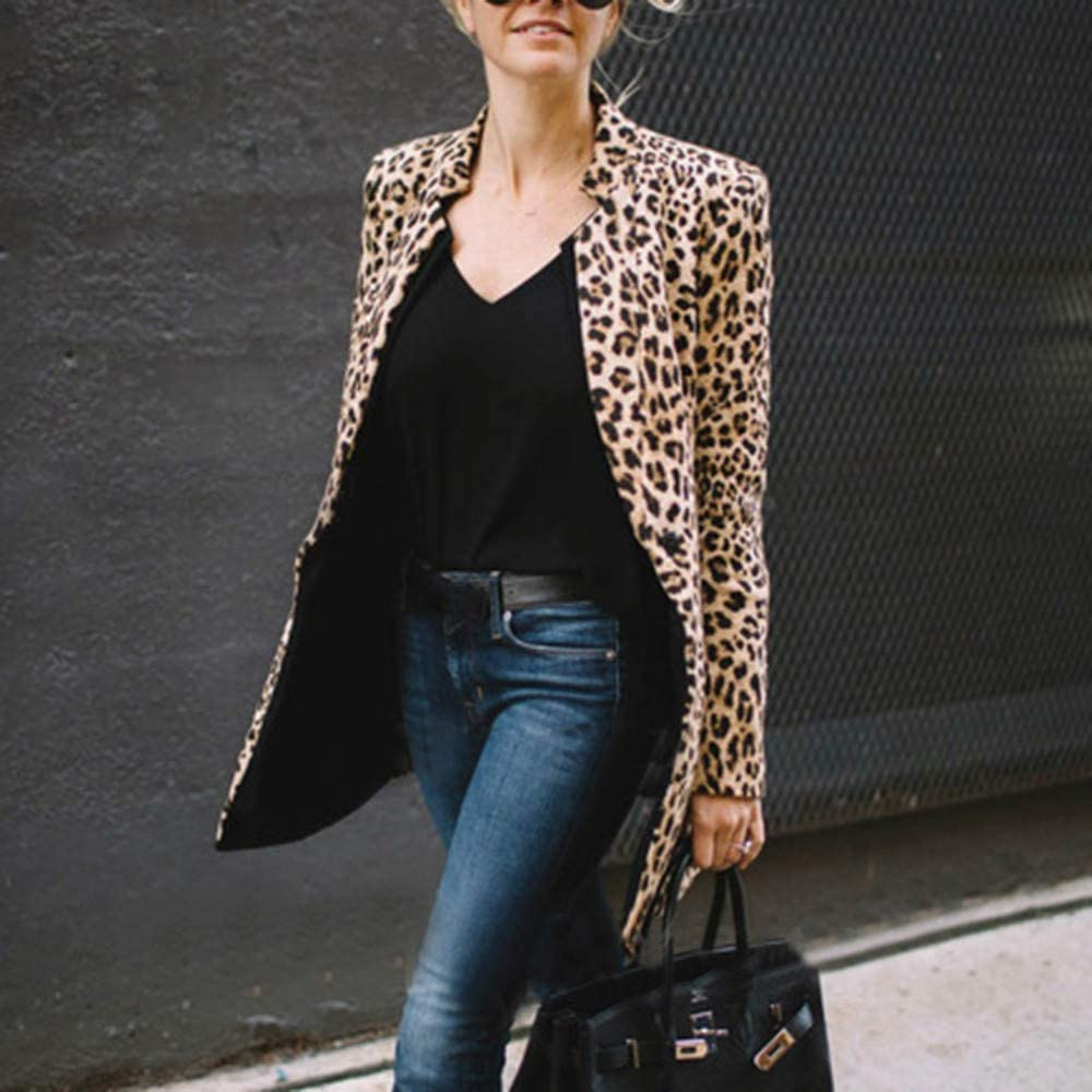 Women Cardigan,Ladies Leopard Printed Long Coat Casual Slim Open Front Jacket Outwear
