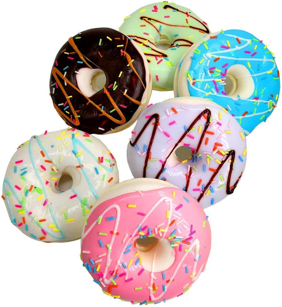6 Pcs Fake Donuts Cake Toys, Realistic Artificial Fake Doughnut Model Photography Props Home Decoration (Donut)