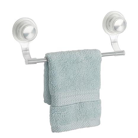 mDesign toallero elegante de acero inoxidable y plástico color plateado - Toallero pared deal para rollos