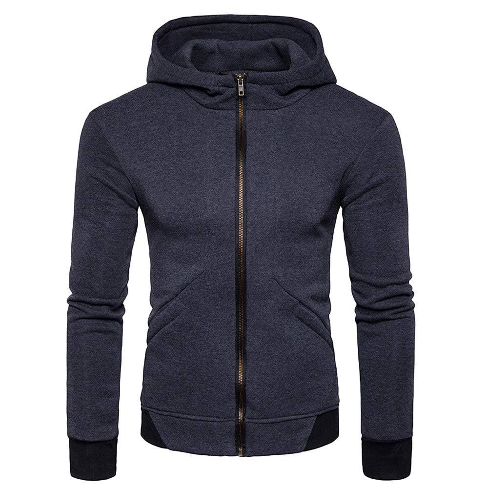 FarJing Mens Sweatshirt Fashion Autumn Winter Packwork Slim Fit Long Sleeve Hoodie Top Blouse