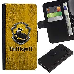 "A-type (Hufflepuff"") Colorida Impresión Funda Cuero Monedero Caja Bolsa Cubierta Caja Piel Card Slots Para Samsung Galaxy S3 III i9300 i747"
