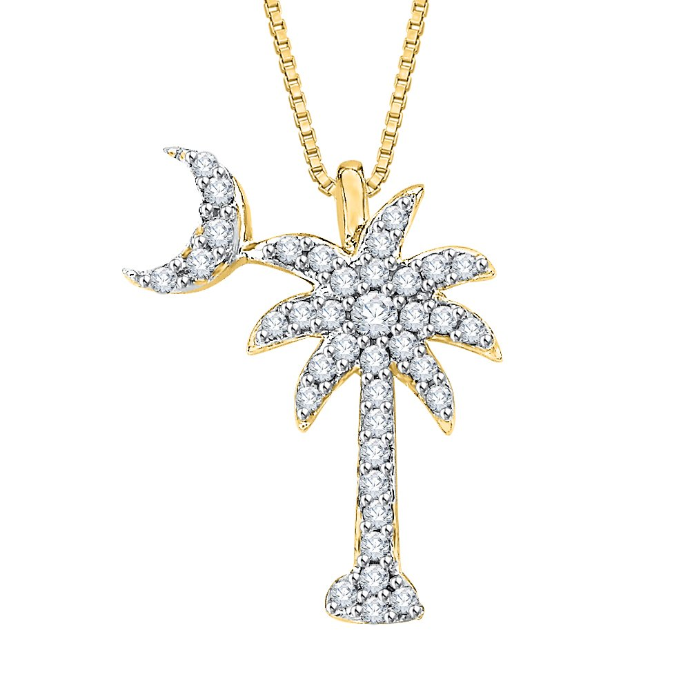 DiamondPalm Tree with Crescent Moon Pendant Necklace in Gold or Silver 1//5 cttw, G-H, I2-I3
