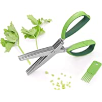 Herb Scissors, Besiva 5 Blades Stainless Steel Multipurpose Kitchen Shear With Cleaning Brush, Ideal for Chopping Food, Shredding Paper, Art Home Office Utility