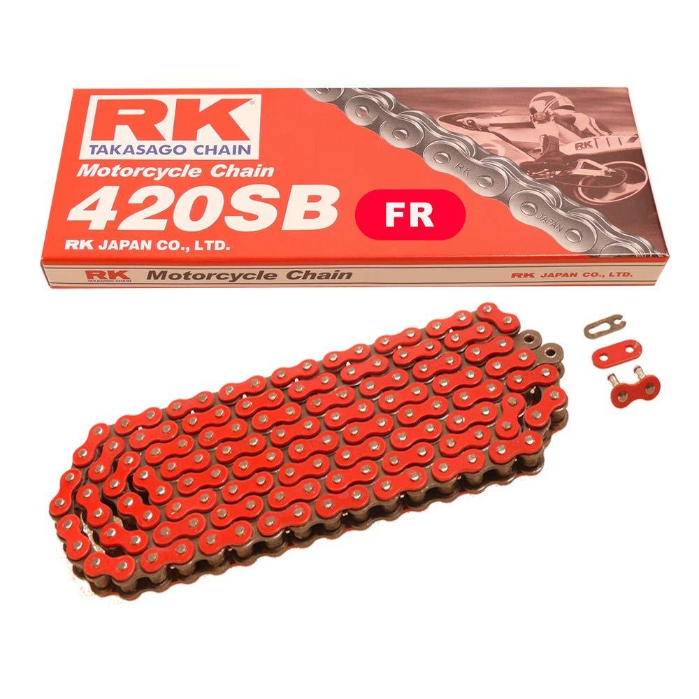 Motorrad Kette ROT RK FR420SB mit 136 Rollen und Clipschloss offen