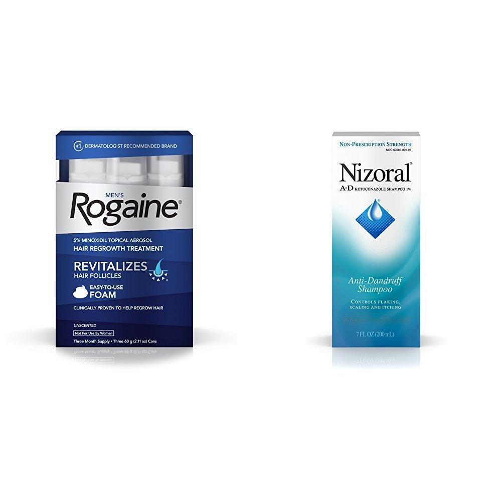 Men's Rogaine Foam Hair Loss Treatment (3-Month Supply) & Nizoral A-D Anti-Dandruff Shampoo (7 fl. oz)