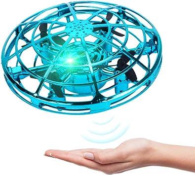 Opinión sobre BELLA BEAR UFO Mini Drone Juguetes voladores con Luces LED Inducción infrarroja Controlado a Mano Fácil de operar para niños (Azul)