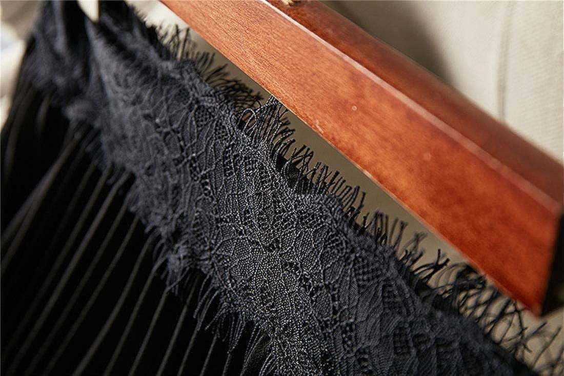 shaobeiq Womens New Chiffon Lace Edge Irregular Pleated Large Swing Skirt