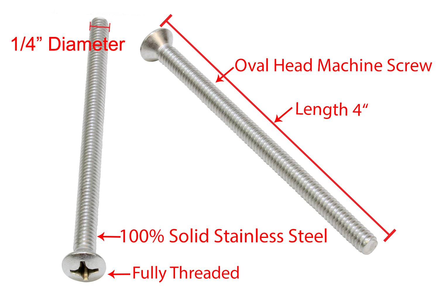 18-8 1//4-20 X 1 Stainless Phillips Oval Head Machine Screw, Stainless Steel by Bolt Dropper 25 pc 304