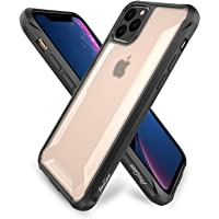 ProCase iPhone 11 Pro Max Bumper Case 6.5'' 2019 Release, Slim Hybrid Shockproof Cover with Raised Lips Corner Protection, Matte Clear Back, Anti-Scratch Anti-Slip Anti-Shock Protective Case -Black