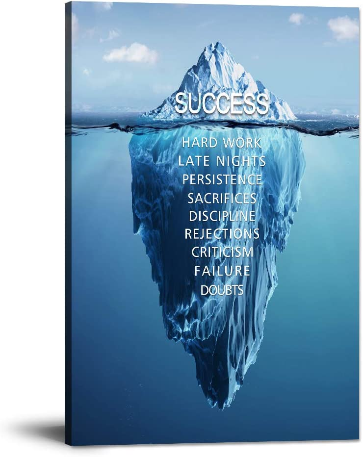 """Success Inspirational Wall Art Motivation Entrepreneur Quotes Canvas Painting Iceberg Pictures Posters and Prints Artwork Modern Inspiring Office Decor Living Room Gym Decorations Framed (12""""Wx18""""H)"""