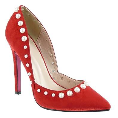 01bca0ae0faf Angkorly - Chaussure Mode Escarpin Stiletto decolleté Sexy Femme Perle  Bijoux Talon Haut Aiguille 12 CM: Amazon.fr: Chaussures et Sacs